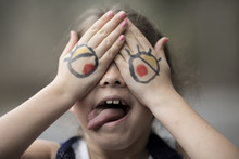 Little Girl With Cartoon Eyes ...