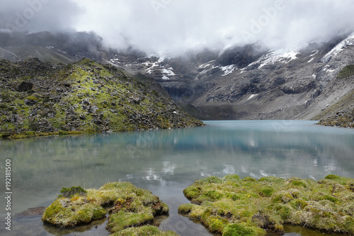 Aluminium Prints New Zealand Pure lagoon at the feet of the snowy verdish 2 with a view of moss (distichia muscoides) in the foreground