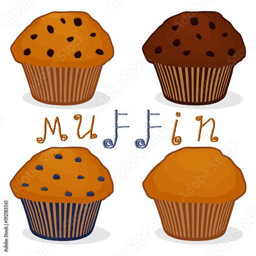 Fotografie, Obraz Vector icon illustration logo for set homemade muffin