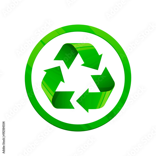 Recycle Green Icon Round Shape Symbol Eco Color Style White Background