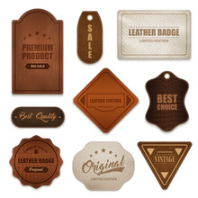 Realistic Leather Badges Label...
