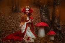 Woman In Red Medieval Dress