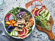 canvas print picture - grilled tofu and dragon fruit buddha bowl top view