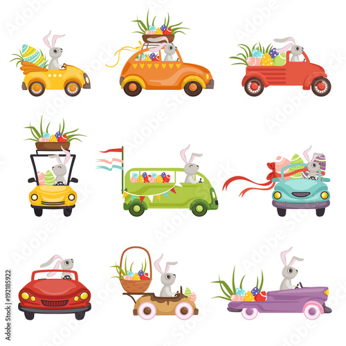 Cute little bunnies driving vintage car decorated with colored eggs set, funny rabbit characters, Happy Easter concept cartoon vector Illustrations