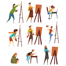 Artists Painting On Canvas Set...
