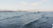 CAIRO, EGYPT - 5 January 2017: Sea view waves in the foreground in Egypt ship beach panoramic ship panorama water blue nature sun ocean surf africa dawn destination holiday horizon landscape relax