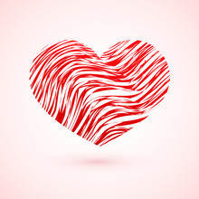 Red Grunge Heart. Symbol Of Love. Valentine's Day Vector Illustration. Easy To Edit Design Template.