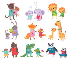 Cartoon Set Of Cute Animal Family Portraits. Cats, Elephants, Lions, Bunnies, Foxes, Giraffes, Bears, Crocodiles And Pandas. Flat Vector For Children S Book Or Education Card