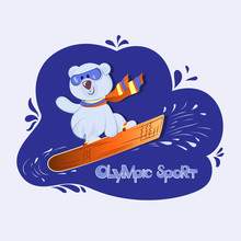 White Bear Cub On Snowboard. Olympic Sport. Colorfull Illustration Of Cute Teddy Bear With Snowboard. Hand Drawn Animal Cartoon Banner. Baby Winter Holidays Greeting Card.