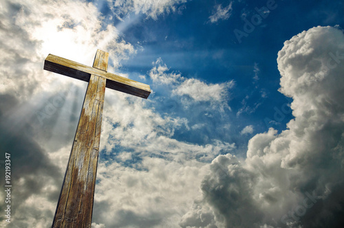 Cross against the sky. Happy Easter. Christian symbol Poster Mural XXL