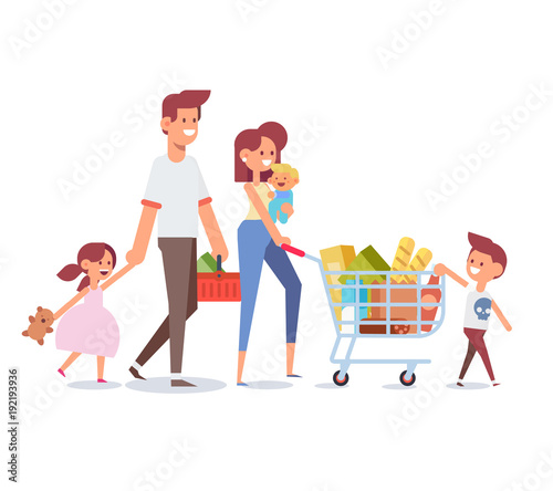 aba5e7846ccbc Happy family shopping - parents with happy kids. Big sale. Purchasing of  goods and gifts. Flat Vector illustration, cartoon design.