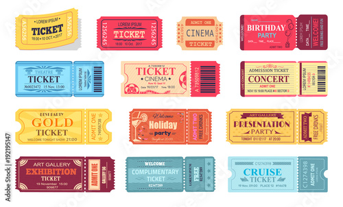 Fotomural  Ticket and Presentation Party Vector Illustration