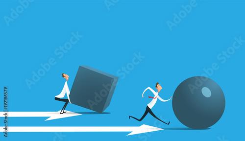 Fotografía Businessman pushing sphere
