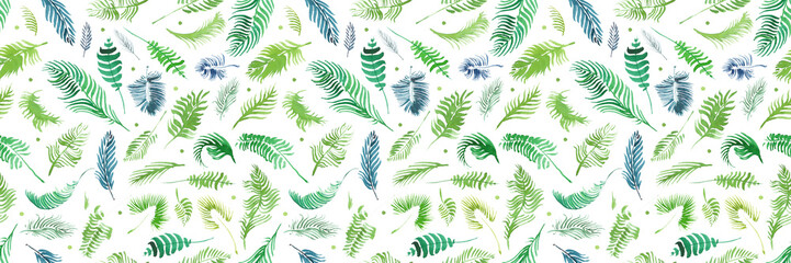 Panel SzklanyTropical palm leaves, jungle leaves seamless floral pattern background, Watercolor tropical decor, Print summer exotic jungle plant tropical palm leaves. Pattern, seamless floral background.