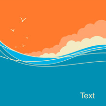 Seascape Vector Background For Text. Ocean Waves