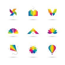 Colorful Icons Set On White Ba...