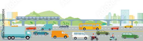 Fotografija Autobahn mit Großstadt illustration