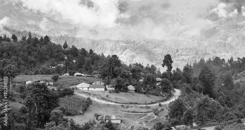 Poster Gris Guatemala Landscape Black And White
