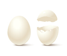 Egg And Broken Empty Eggshell Isolated On White Background. Vector Realistic Design Element.