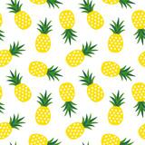żółty ananas z trójkątów geometrycznych owoców lato tropikalny wzór na białym tle bez szwu wektor - 192218576