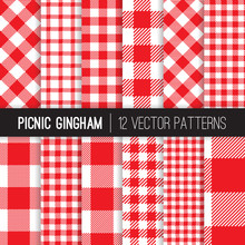 Red And White Picnic Tablecloth Style Gingham And Checks Vector Patterns. Backgrounds For Restaurant Menus Or Food Packaging. Pixel Pattern Swatches Included.