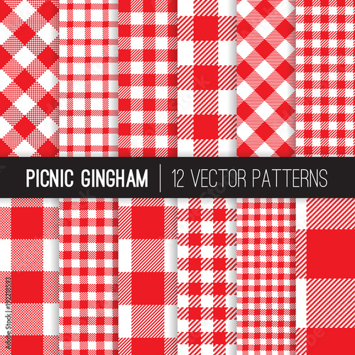 Obraz na płótnie Red and White Picnic Tablecloth Style Gingham and Checks Vector Patterns