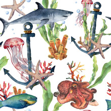 Watercolor Seamless Pattern With Shark, Anchor And Sea Animals. Hand Painted Plumeria, Octopus, Jellyfish, Parrotfish, Starfish And Coral Reef. Nautical Illustration For Design, Print Or Background.