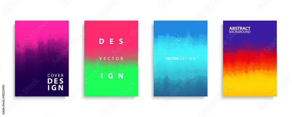 Fototapeta Covers design collection with modern abstract color gradients patterns. Templates set for brochures, posters, banners and cards. Vector illustration.
