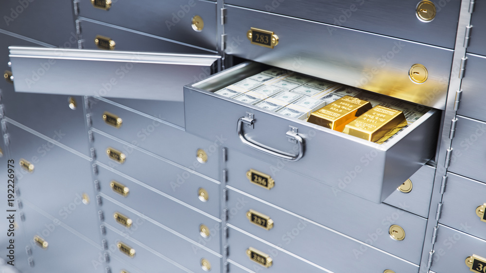Fototapety, obrazy: open bank safe door with dollars bills and gold inside 3d illustration