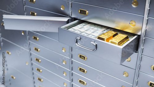 Carta da parati open bank safe door with dollars bills and gold inside 3d illustration