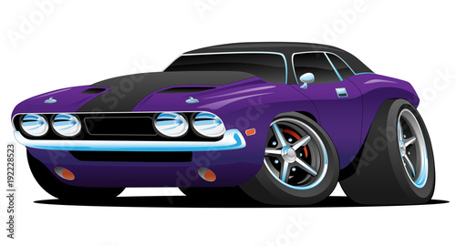 Staande foto Cartoon cars Classic Muscle Car Hot Rod Cartoon Illustration