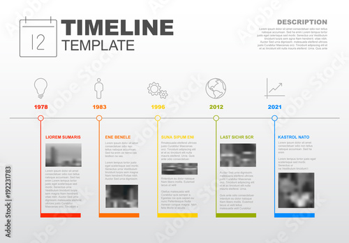 horizontal timeline infographic with photo inserts and business