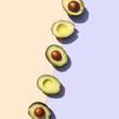 Halves of avocados