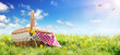 canvas print picture - Picnic - Basket On Meadow