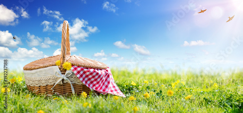 Foto auf Leinwand Picknick Picnic - Basket On Meadow