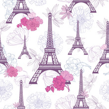 Vector Purple Pink Eifel Tower...