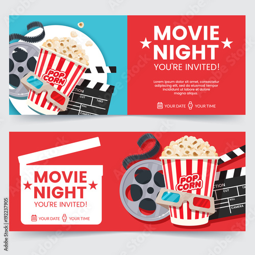 Obraz Cinema tickets design concept. Movie Night invitation. Cinema poster template. Composition with popcorn, clapperboard, 3d glasses and filmstrip. Banner design for movie theater. - fototapety do salonu