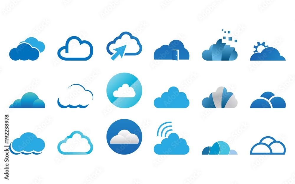 Obraz Collection of cloud logo icon template vector set fototapeta, plakat