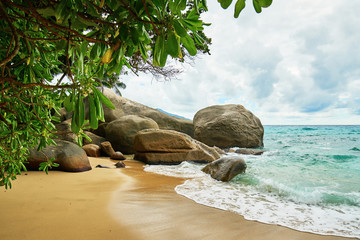 FototapetaMahe seychelles beach with famous rocks