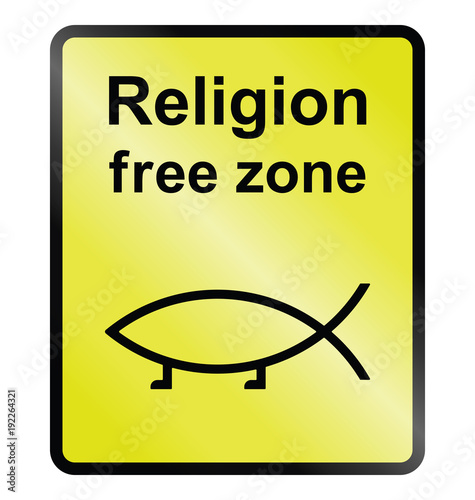 Photo Yellow religion free zone public information sign isolated on white background