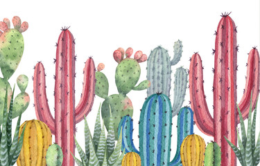 Plakat Watercolor vector banner of cacti and succulent plants isolated on white background.