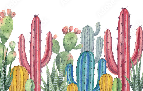 Akwarela wektor banner kaktusów i sukulentów na białym tle.
