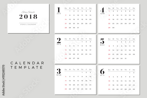 2018 Vector Calendar Template January To June 2018 Simple Planner