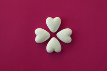 Lovely Heart-shaped Gingerbread Cookies On A Colourful Background
