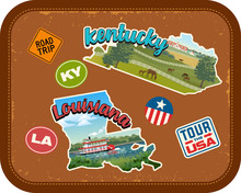 Kentucky, Louisiana Travel Stickers With Scenic Attractions And Retro Text On Vintage Suitcase Background