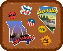 Missouri, Nevada Travel Sticke...