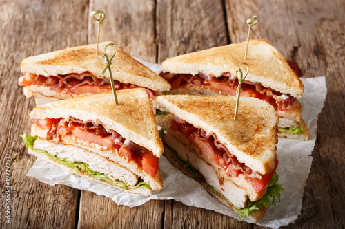 Traditional freshly prepared club sandwiches with turkey, bacon, tomatoes and lettuce close-up. horizontal