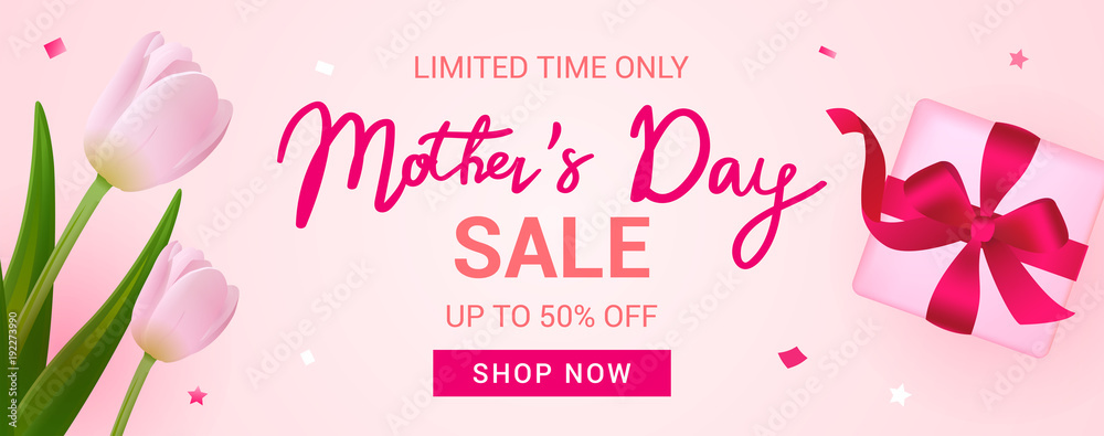 Fototapeta Mother's Day Sale Banner vector illustration, Beautiful Tulips with gift box.