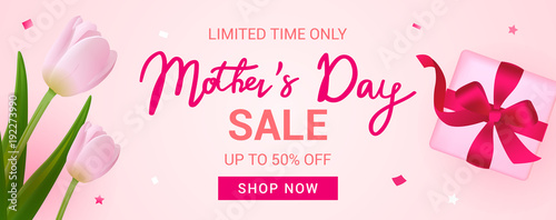 Fotografie, Obraz  Mother's Day Sale Banner vector illustration, Beautiful Tulips with gift box