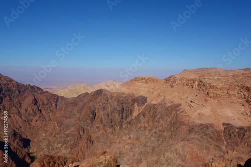 Tuinposter Baksteen Panoramic view of Petra desert from the High Place of Sacrifice, Jordan